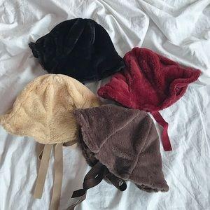 Fuzzy maroon red teddy hat